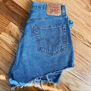 Vintage Style Levi's 505 Distressed Denim Shorts